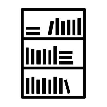 Bookcase or bookshelf with books in library line art vector icon for apps and websites Stock Illustratie
