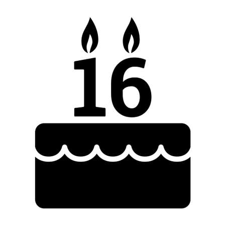 Sweet 16 / sixteen birthday cake for celebration flat vector icon for food apps and websites Stock Illustratie