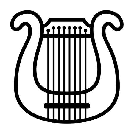 Lyre harp classical musical instrument line art vector icon for music apps and websites