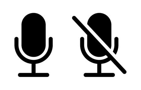 Mute and unmute audio microphone flat vector icons for video apps and websites Vektorgrafik