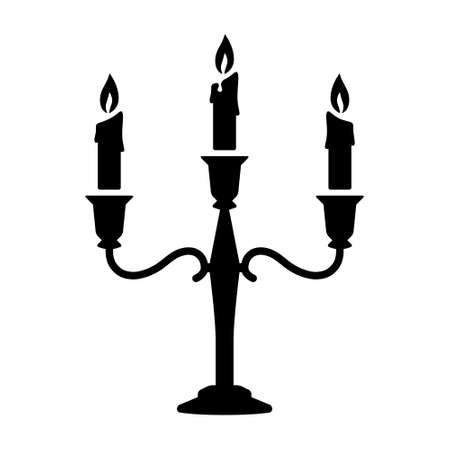 Candlestick or chamberstick candle holder with three arms and candles flat vector icon for apps and websites