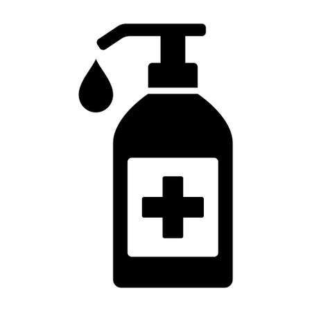 Sanitize or sanitizer bottle with disinfectant soap flat vector icon for medical apps and websites