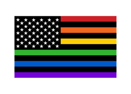 American pride rainbow flag with stars and stripes flat vector icon for LGBT apps, websites and print Ilustrace