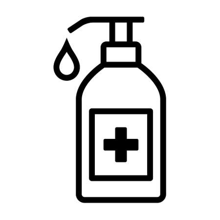 Sanitize or sanitizer bottle with disinfectant soap line art vector icon for medical apps and websites