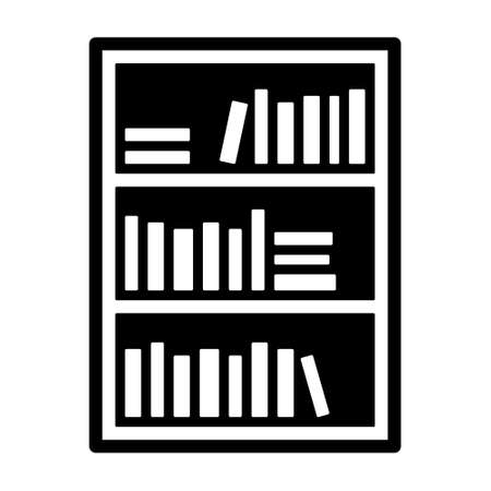 Bookcase or bookshelf with books in library flat vector icon for apps and websites