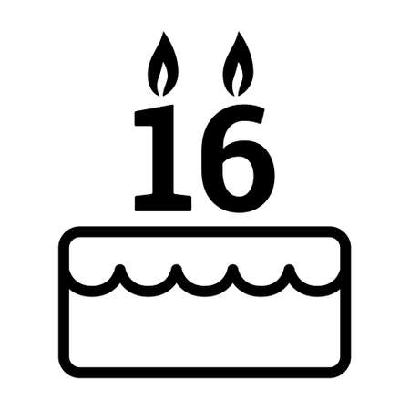 Sweet 16 / sixteen birthday cake for celebration line art vector icon for food apps and websites