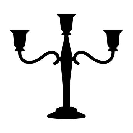 Candlestick or candelabra candle holder with three arms flat vector icon for apps and websites