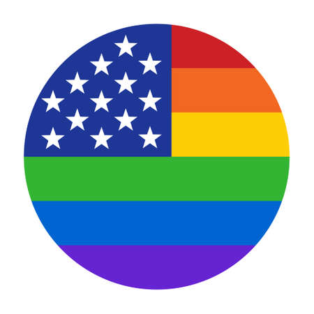 American pride rainbow circle flag with stars and stripes flat vector icon for LGBT apps and websites Ilustrace