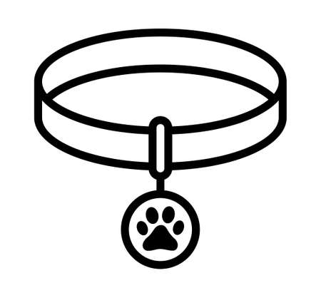 Pet collar or dog collar with tag line art vector icon for apps and websites