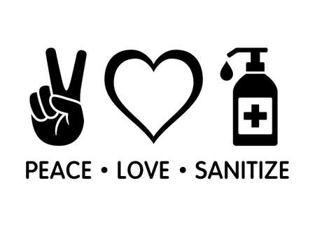 Peace Love Sanitize flat vector icon design for apps and print