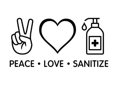 Peace Love Sanitize line art vector icon design for apps and print