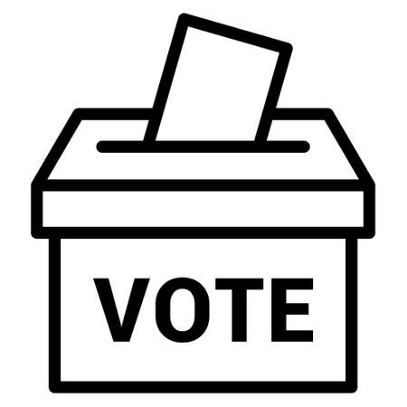 Vote ballot box for voting line art vector icon for apps and websites Stock Illustratie