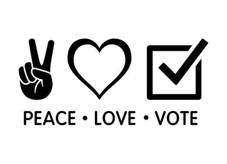 Peace love vote election concept flat vector design for apps and print Stock Illustratie