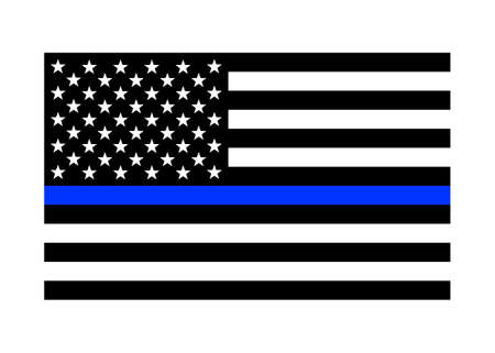 Thin blue line American flag / US flag vector icon for websites and print