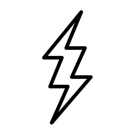 Flash of lightning, thunder bolt or lighting strike line art vector icon for apps and websites