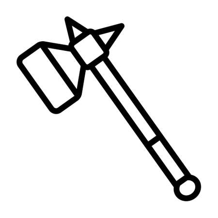 Warhammer or war hammer blunt weapon line art vector icon for games and websites