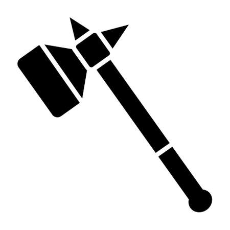 Warhammer or war hammer blunt weapon flat vector icon for games and websites Çizim