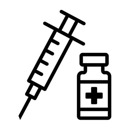 Vaccine bottle with needle or syringe line art icon for vaccination apps and websites