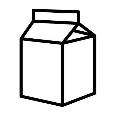 Small milk carton box line art vector icon for food apps and websites
