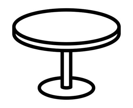 Round dinner table or circular diner table line art vector icon for apps and websites