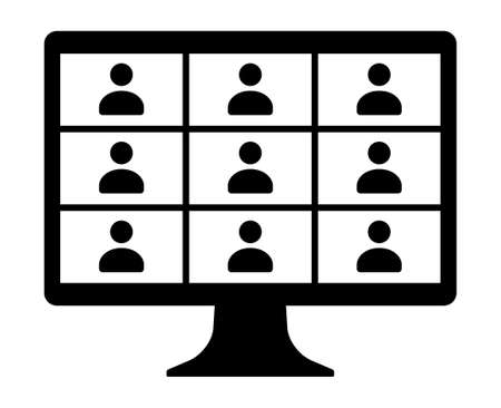 Remote work, remote learning or online video class with nine people flat vector icon for meeting apps and websites
