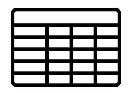 Database table entries or tabular table for data line art vector icon for tech apps and websites