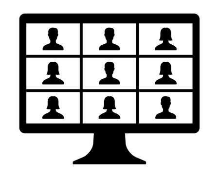 Remote work, remote learning or online video class with nine mixed gender people flat vector icon for meeting apps and websites