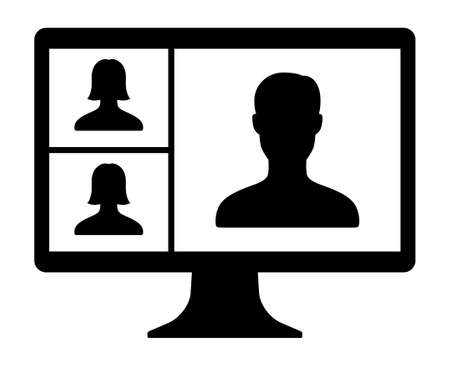 Remote work, remote learning or online video meeting with three mixed gender people flat vector icon for apps and websites