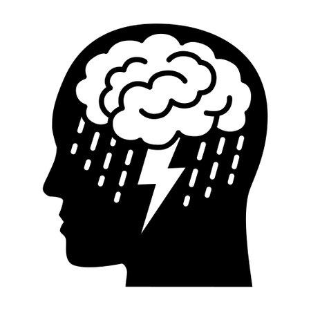 Brainstorm or mental illness disorder flat vector icon for mental health apps and websites Illusztráció