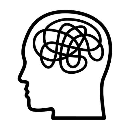 Mental illness, anxiety or mental disorder line art vector icon for mental health apps and websites