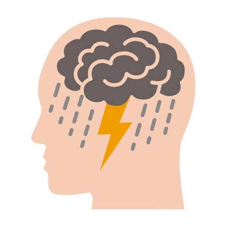 Brainstorm or mental illness disorder flat vector color icon for mental health apps and websites Illusztráció