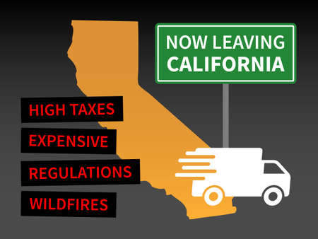 People and businesses leaving or fleeing California illustration for editorial and print media