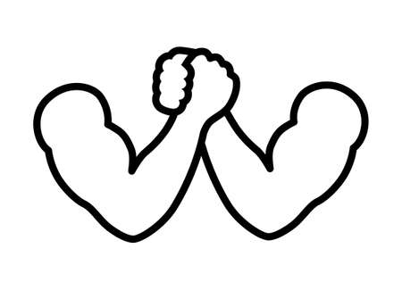 Arm wrestling or armwrestling sport line art vector icon for sports apps and websites