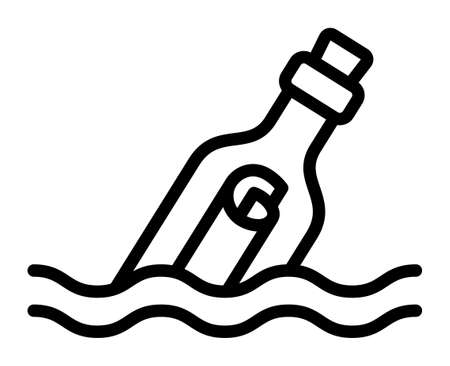 Message in a bottle floating and partially submerged in water line art vector icon for apps and websites
