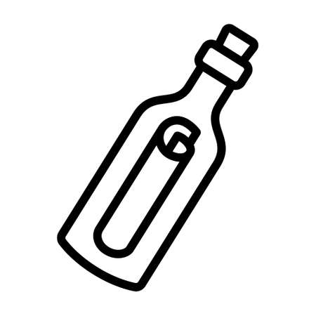 Message or letter in a bottle line art vector icon for apps and websites Illusztráció