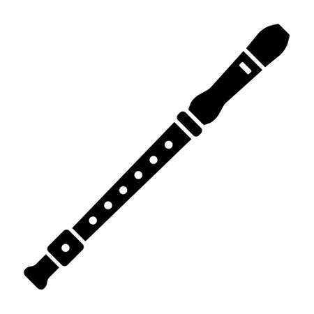 Recorder flute musical instrument flat vector icon for music apps and websites