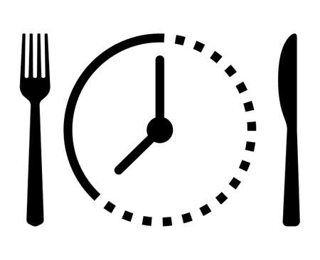 Intermittent food fasting with clock line art vector icon for food apps and websites Illusztráció