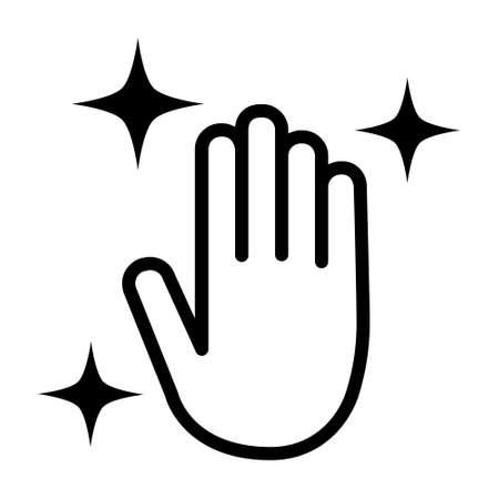 Clean disinfected or sanitized hands flat vector icon for apps and website Illusztráció