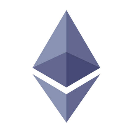 Purple ethereum crystal or ether cryptocurrency flat vector icon for apps and websites