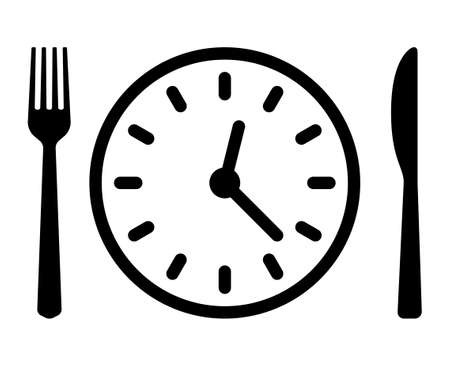 Food fasting with clock line art vector icon for food apps and websites Illusztráció