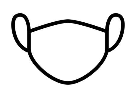 Medical face mask or surgical facemask protection  line art vector icon for apps and websites
