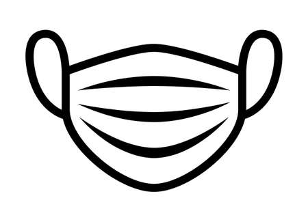 Medical face mask or surgical facemask protection from  with folds line art vector icon for apps and websites Illusztráció