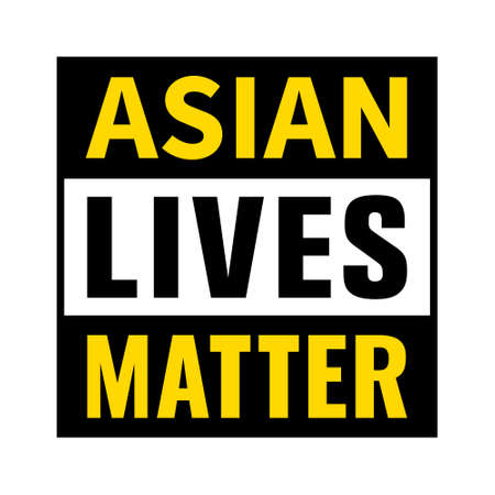 Asian Lives Matter label or sign flat vector icon for websites and print