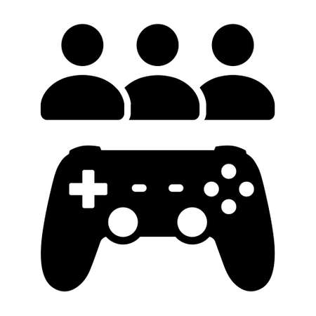 Multiplayer video game with game controller and players flat vector icon for games and websites