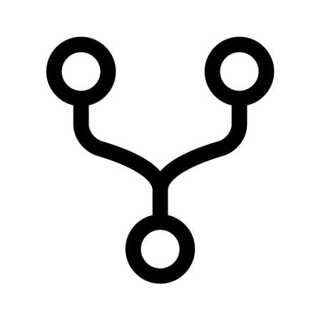 Fork or forking a branch line art icon for apps and websites