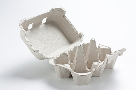 Empty egg box, open and gray cardboard photo