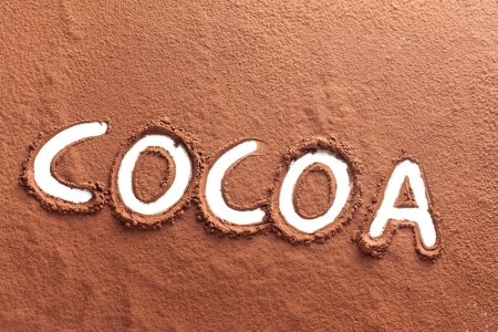 The word pure written on cocoa powder photo