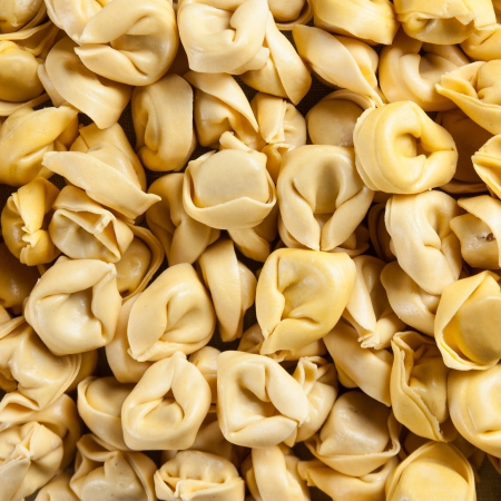 tortellini with meat and vegetables raw homemade