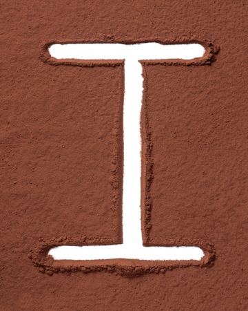 Letter I uppercase made of cocoa powder photo