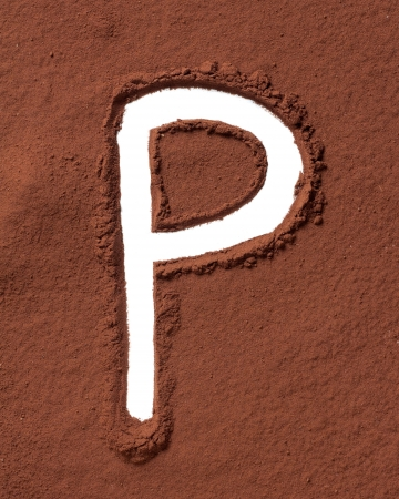 Letter P uppercase made of cocoa powder photo